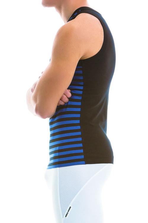 Modus Vivendi Striped Tanktop 11931-BU - Blue - Mens Tank Top Singlets - Side View - Topdrawers Underwear for Men