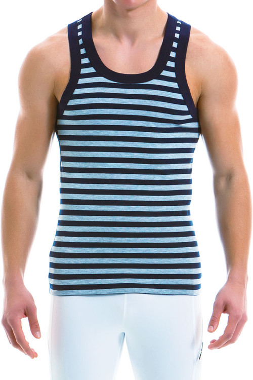 Modus Vivendi Striped Tanktop 11931-GR - Grey - Mens Tank Top Singlets - Front View - Topdrawers Underwear for Men