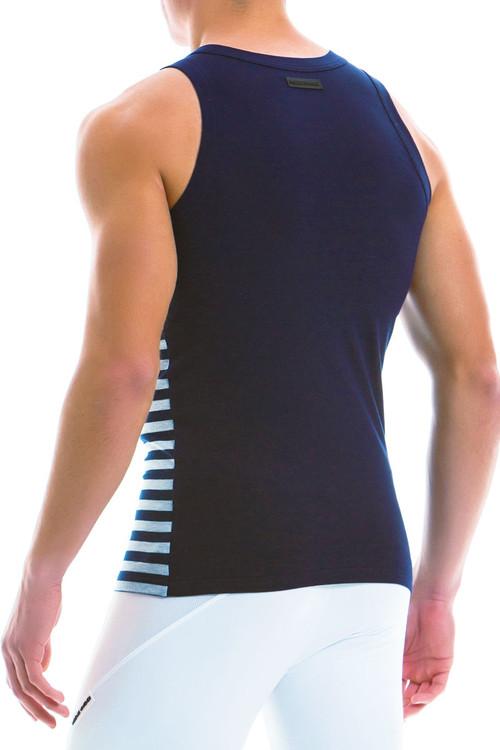 Modus Vivendi Striped Tanktop 11931-GR - Grey - Mens Tank Top Singlets - Rear View - Topdrawers Underwear for Men
