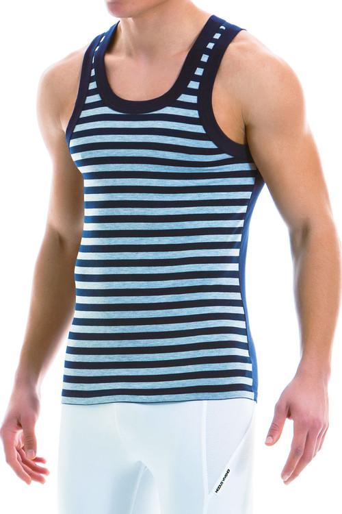 Modus Vivendi Striped Tanktop 11931-GR - Grey - Mens Tank Top Singlets - Side View - Topdrawers Underwear for Men