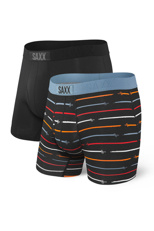 Saxx 2-Pack Ultra Boxer Brief w/ Fly SXPP2U-PAI Paintroller/Black - Mens Boxer Briefs Multipack - Front View - Topdrawers Underwear for Men