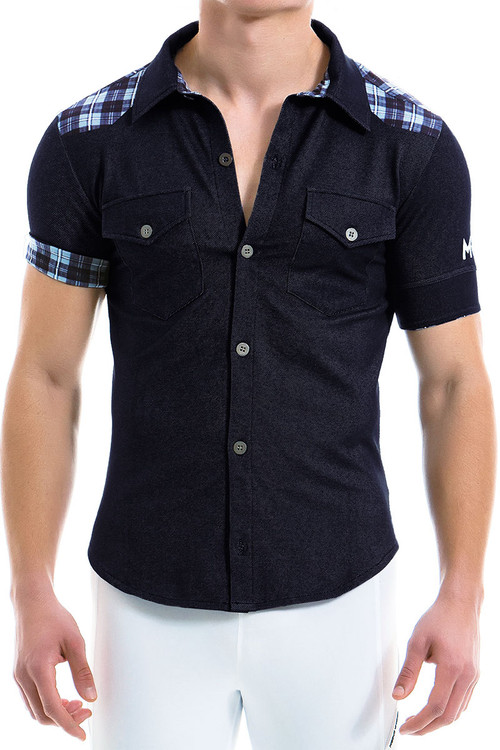 Modus Vivendi Jeans Shirt 12941-BU Blue - Mens Shirts - Front View - Topdrawers Clothing for Men
