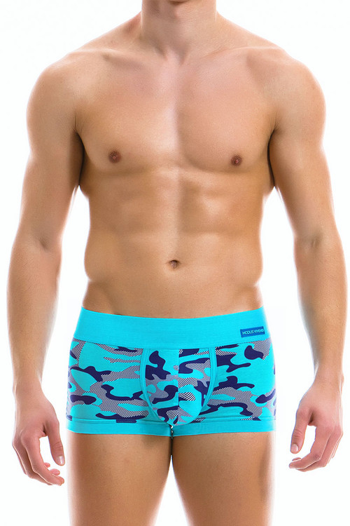 Modus Vivendi Camo Marine Boxer 10921-AQ Aqua -- Mens Trunk Boxer Briefs - Front View - Topdrawers Underwear for Men