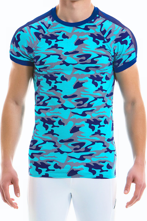 Modus Vivendi Camo Marine C-Through T-Shirt 10941-AQ Aqua -- Mens T-Shirts - Front View - Topdrawers Clothing for Men