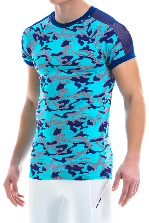 Modus Vivendi Camo Marine C-Through T-Shirt 10941-AQ Aqua -- Mens T-Shirts - Side View - Topdrawers Clothing for Men