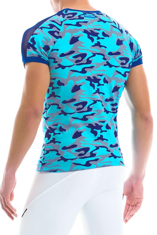 Modus Vivendi Camo Marine C-Through T-Shirt 10941-AQ Aqua -- Mens T-Shirts - Rear View - Topdrawers Clothing for Men