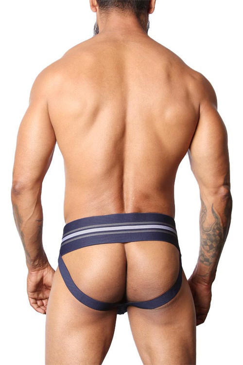 CellBlock 13 Tight End Jockstrap CBU133-NV Navy Blue - Mens Jockstraps - Rear  View - Topdrawers Underwear for Men