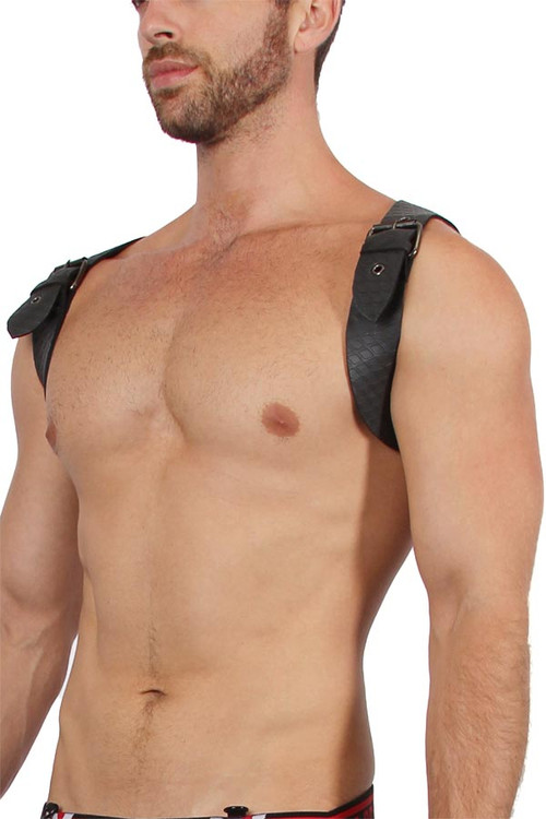 CellBlock 13 Sniper Neoprene Harness CBS108-BL Black - Mens Fetish Harnesses - Side View - Topdrawers Fetishwear for Men