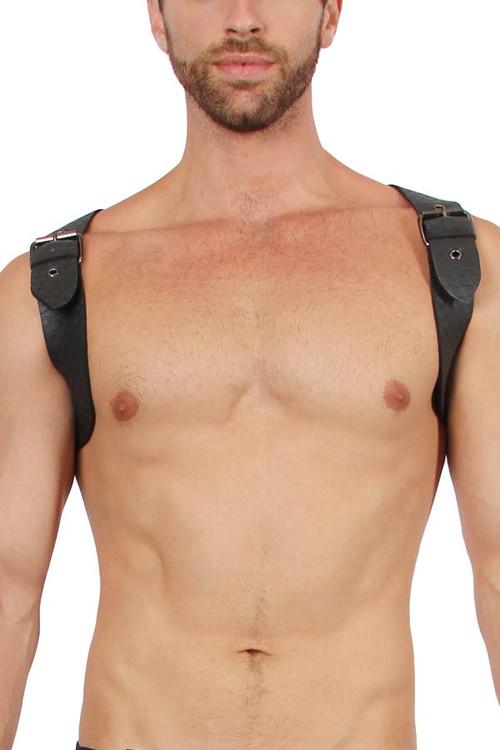 CellBlock 13 Sniper Neoprene Harness CBS108-BL Black - Mens Fetish Harnesses - Front View - Topdrawers Fetishwear for Men
