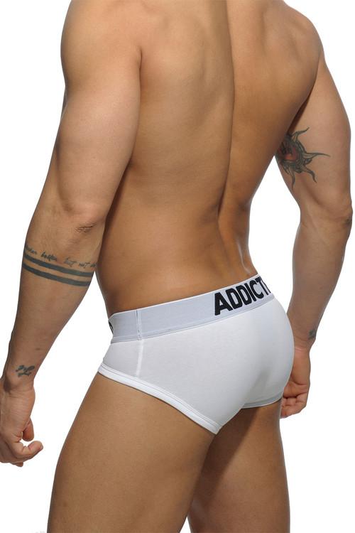 Addicted Basic Brief AD420P-01 - White - Mens Briefs - Rear View - Topdrawers Underwear for Men