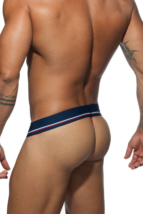 Addicted Sport 09 Thong AD711-09 - Navy Blue - Mens Thongs - Front View - Topdrawers Underwear for Men