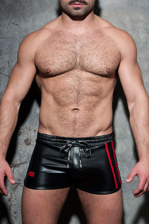 Addicted Fetish Double Stripe Rocky ADF115-06 - Red - Mens Fetish Shorts - Front View - Topdrawers Fetish Clothing for Men