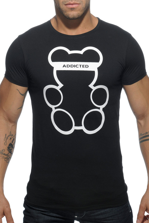 Addicted Bear Round Neck T-Shirt AD424-10 - Black - Mens T-Shirts - Front View - Topdrawers Clothing for Men