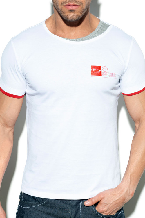 ES Collection Double Neck T-Shirt TS246-01 - White - Mens T-Shirts - Front View - Topdrawers Clothing for Men
