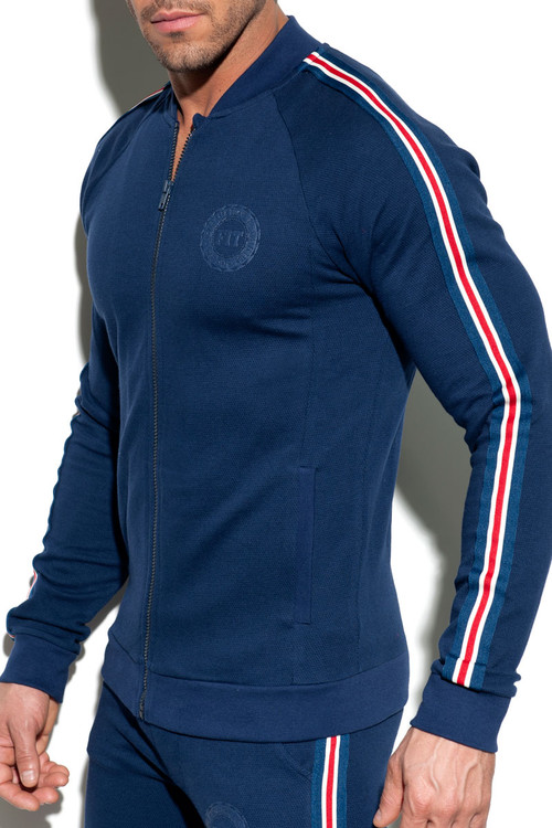 ES Collection Fit Tape Jacket SP208-09 - Navy Blue - Mens Sport Jackets - Side View - Topdrawers Clothing for Men