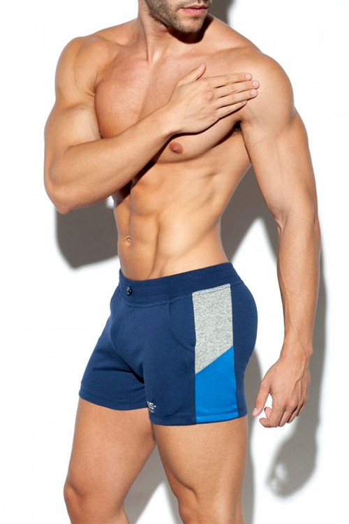 ES Collection Rustic Combi Sports Short SP225-09 - Navy Blue - Mens Sport Shorts - Front View - Topdrawers Clothing for Men