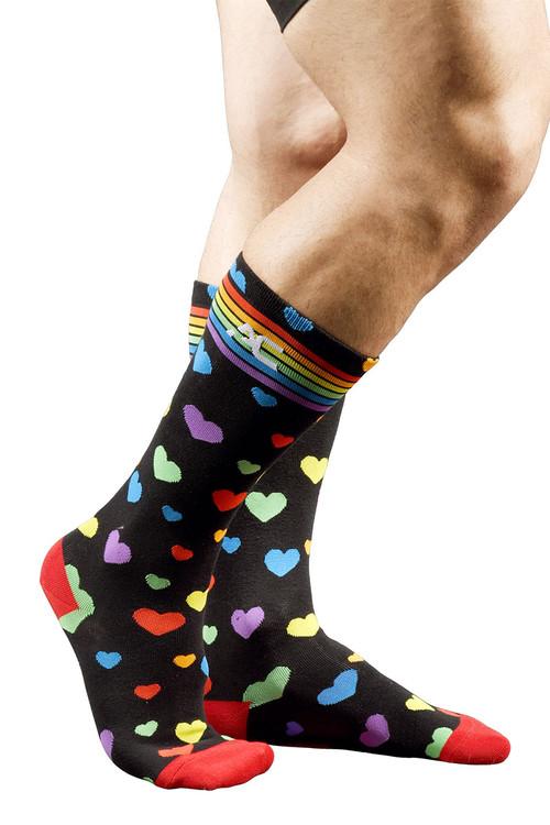 Andrew Christian Pride Heart Socks 8429 - Mens Socks - Side View - Topdrawers Underwear for Men
