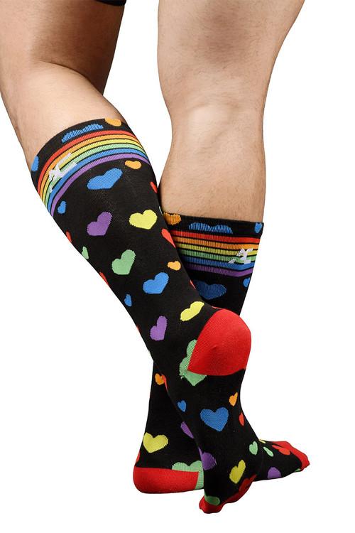 Andrew Christian Pride Heart Socks 8429 - Mens Socks - Rear View - Topdrawers Underwear for Men