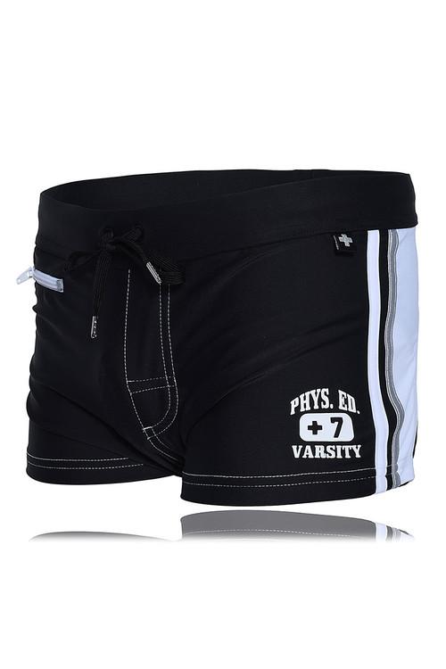 Andrew Christian Phys Ed Varsity Zipper Pocket Swim Trunk 7739-BL Black - Mens Swim Boxer Trunks - Garment View - Topdrawers Swimwear for Men
