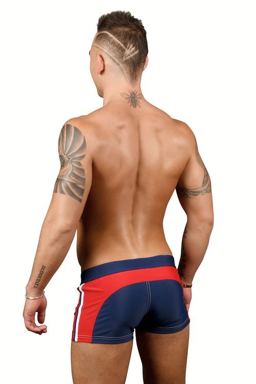 Andrew Christian Phys Ed Varsity Zipper Pocket Swim Trunk 7739-NV Navy Blue - Mens Swim Boxer Trunks - Rear View - Topdrawers Swimwear for Men