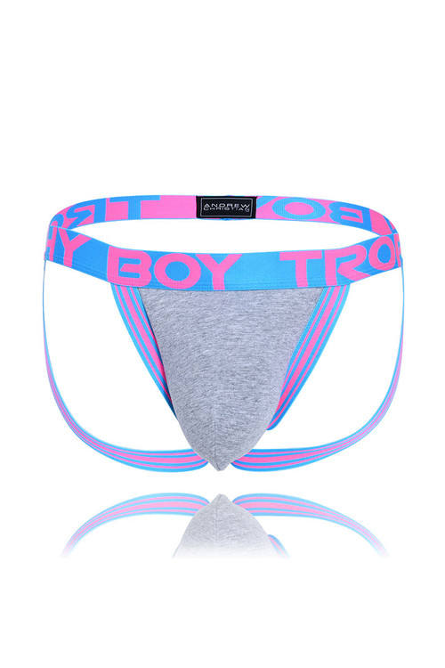 Andrew Christian Trophy Boy Score Jock 91251-HEA Heather - Mens Jockstraps - Front View - Topdrawers Underwear for Men