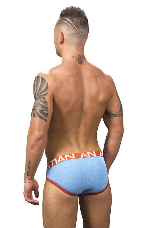 Andrew Christian Show-It Brief 91246-HEAB Heather Blue - Mens Briefs - Rear View - Topdrawers Underwear for Men