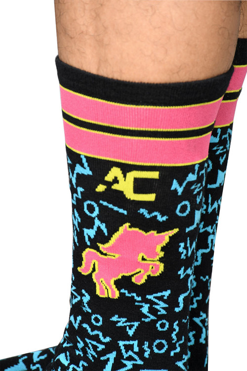 Andrew Christian Unicorn Fantasy Socks 8438 - Mens Crew Socks - Closeup View - Topdrawers Clothing for Men
