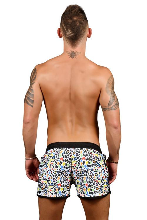 Andrew Christian Rainbow Animal Party Swim Shorts 7733 - Mens Boardshort Swim Shorts - Rear View - Topdrawers Swimwear for Men