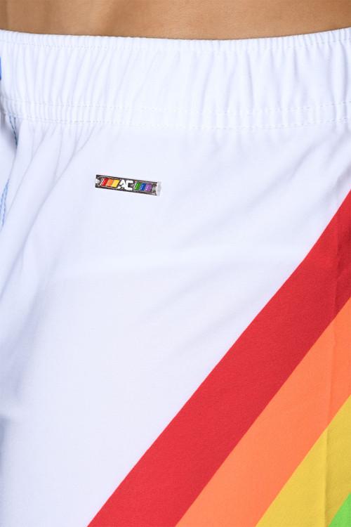 Andrew Christian Rocket Pride Rainbow Swim Shorts 7734 - Mens Boardshort Swim Shorts - Detail View - Topdrawers Swimwear for Men