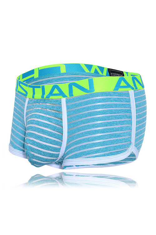Andrew Christian Aqua Sheer Stripe Boxer w/ Almost Naked 91388 - Mens Boxer Briefs - Garment View - Topdrawers Underwear for Men