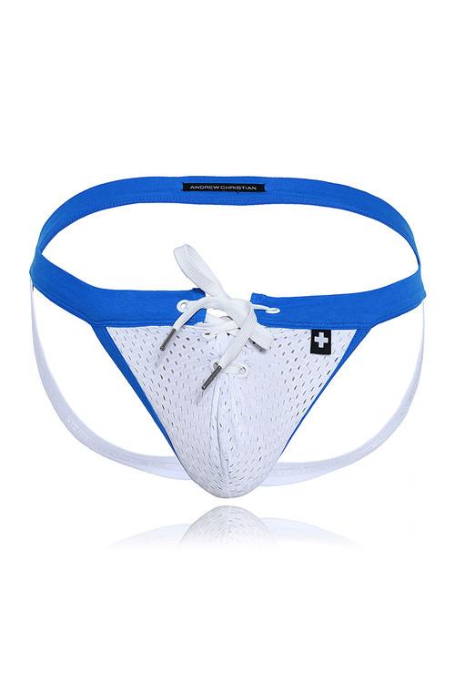 Andrew Christian Football Mesh Jock w/ Almost Naked 91385 - Mens Jockstraps - Garment View - Topdrawers Underwear for Men
