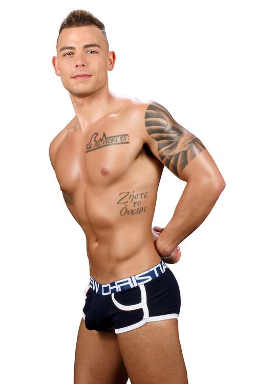 Andrew Christian Show-It Retro Pop Pocket Boxer 91348-NV Navy Blue - Mens Boxer Briefs - Side View - Topdrawers Underwear for Men