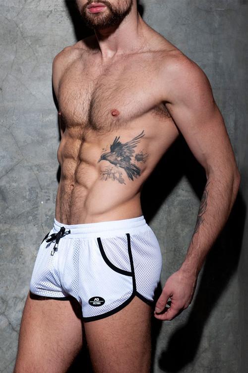 Addicted Fetish Short Kangoo Colour Code ADF126-01 White - Mens Fetish Shorts - Side View - Topdrawers Clothing for Men