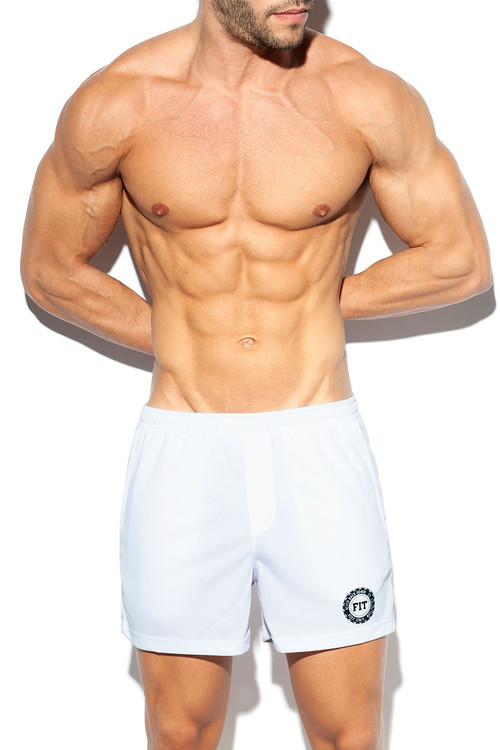 ES Collection Training Fit Short SP226-01 White - Mens Athletic Shorts - Front View - Topdrawers Clothing for Men