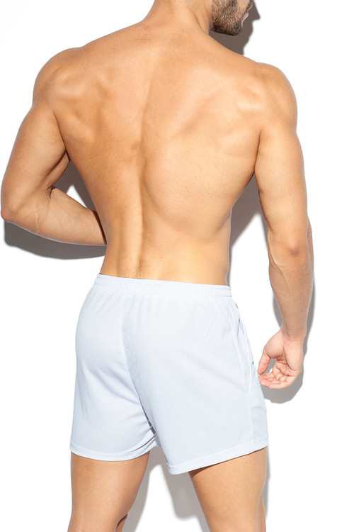 ES Collection Training Fit Short SP226-01 White - Mens Athletic Shorts - Rear View - Topdrawers Clothing for Men