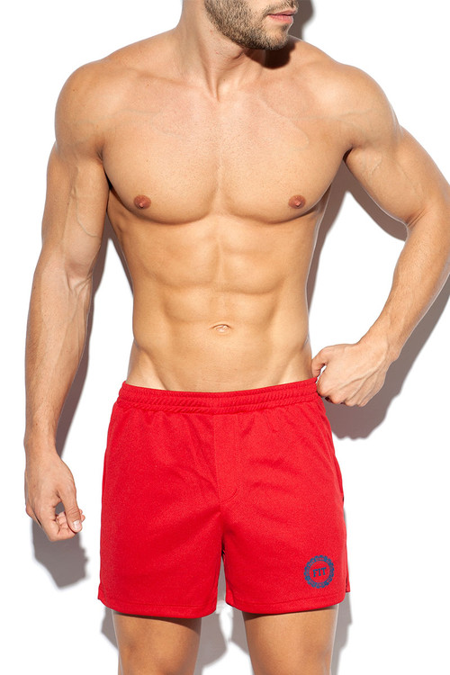 ES Collection Training Fit Short SP226-06 Red - Mens Athletic Shorts - Front View - Topdrawers Clothing for Men