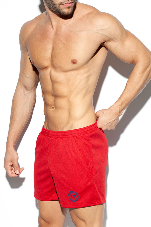 ES Collection Training Fit Short SP226-06 Red - Mens Athletic Shorts - Side View - Topdrawers Clothing for Men