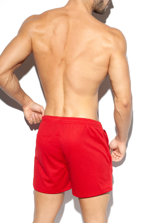 ES Collection Training Fit Short SP226-06 Red - Mens Athletic Shorts - Rear View - Topdrawers Clothing for Men