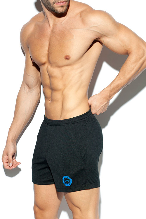 ES Collection Training Fit Short SP226-10 Black - Mens Athletic Shorts - Side View - Topdrawers Clothing for Men