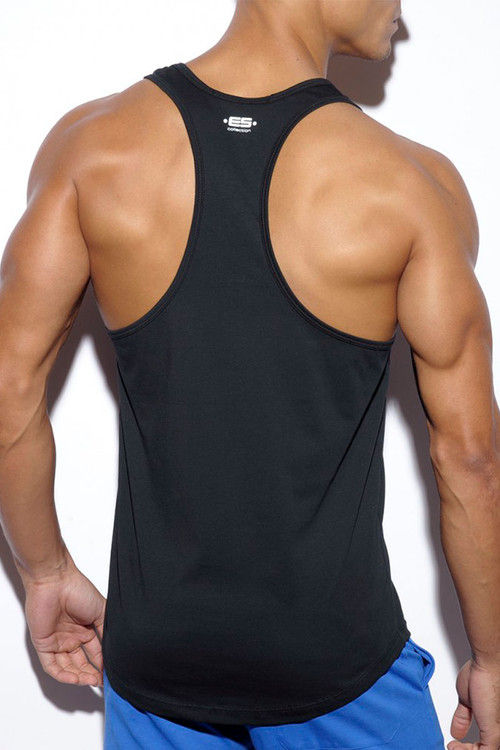 ES Collection Basic Fitness Tank Top TS171-10 Black - Mens Tank Tops T-Shirts - Rear View - Topdrawers Clothing for Men