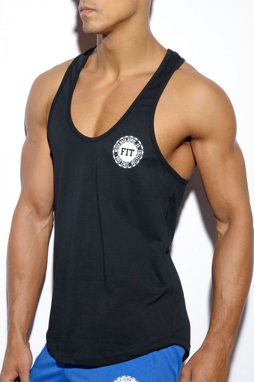 ES Collection Basic Fitness Tank Top TS171-10 Black - Mens Tank Tops T-Shirts - Side View - Topdrawers Clothing for Men