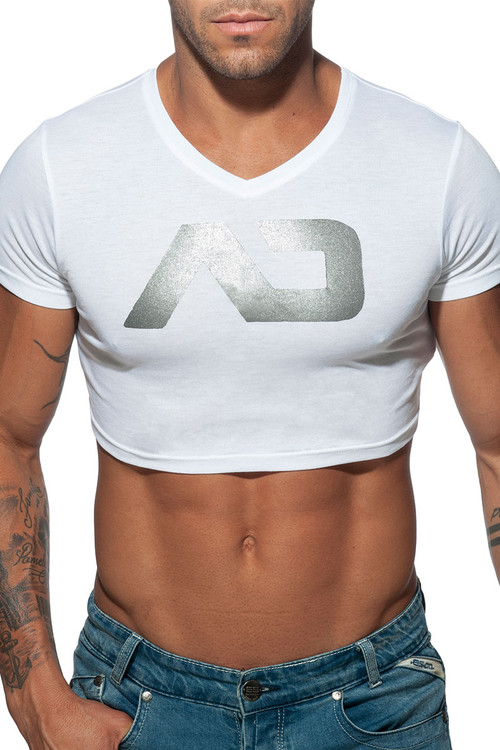 Addicted AD Crop Top AD819-01 White - Mens T-Shirts - Front View - Topdrawers Clothing for Men