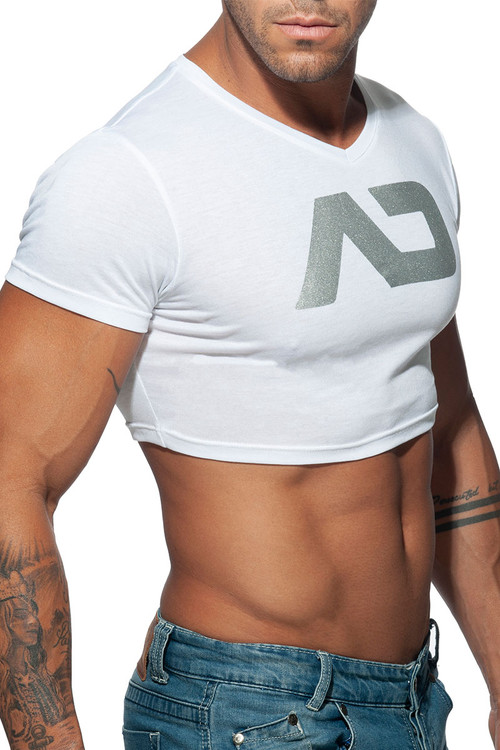 Addicted AD Crop Top AD819-01 White - Mens T-Shirts - Side View - Topdrawers Clothing for Men