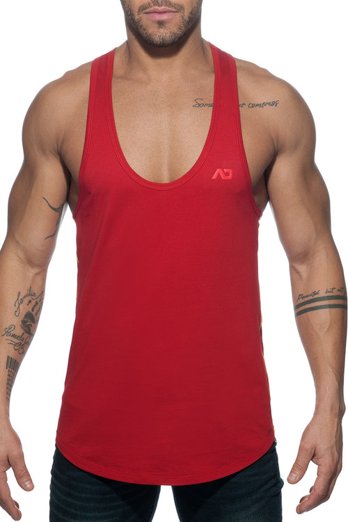 Addicted Flags Tape Tank Top AD777-06 Red - Mens Tank Tops T-Shirts - Front View - Topdrawers Clothing for Men