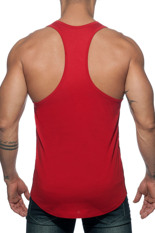 Addicted Flags Tape Tank Top AD777-06 Red - Mens Tank Tops T-Shirts - Rear View - Topdrawers Clothing for Men