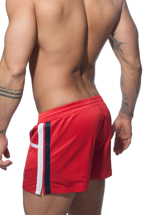 Addicted Mesh Rainbow Swim Short ADS178-06 Red - Mens Swim Boardshorts - Rear View - Topdrawers Swimwear for Men
