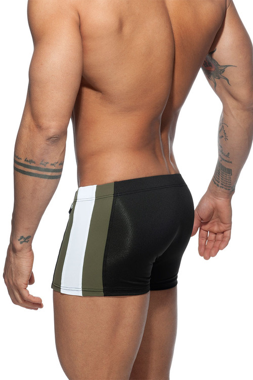 Addicted Stripes Basic Swim Boxer ADS213-10 Black - Mens Swim Trunks - Rear View - Topdrawers Swimwear for Men