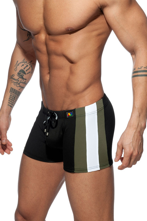 Addicted Stripes Basic Swim Boxer ADS213-10 Black - Mens Swim Trunks - Side View - Topdrawers Swimwear for Men