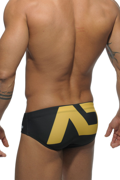 Addicted Extra-Large AD Logo Swim Brief ADS045-10 Black - Mens Swim Bikini Briefs - Rear View - Topdrawers Swimwear for Men