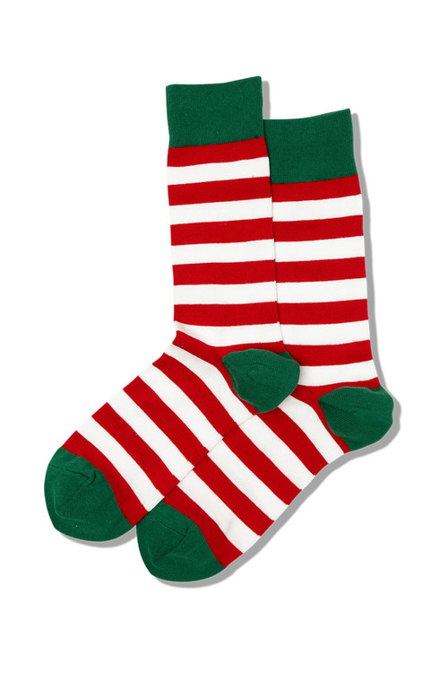 Hot Sox Holiday Stripe Crew Socks HM100460 - Mens Socks - Front View - Topdrawers Footwear for Men